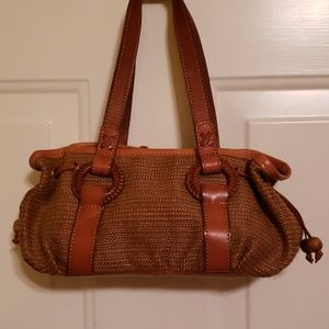 SMALL FOSSIL WOVEN BAG TAN LEATHER STRAPS